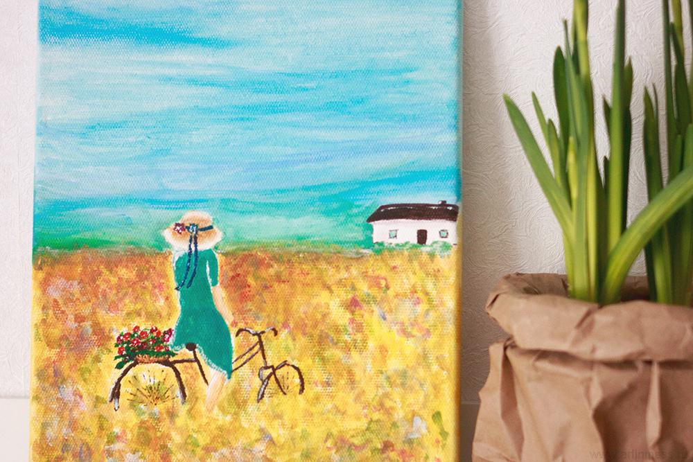 рисование акриловыми красками, девушка на велосипеде, acrylic painting