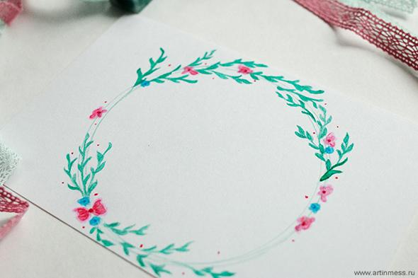 Акварельный весенний венок / Watercolor Spring Wreath