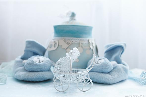 Горшок на кашу, Baby-welcoming handmade present, подарки своими руками, альтер-скрап, акриловые краски по дереву, детские подарки, подарки для новорожденных, present for babies
