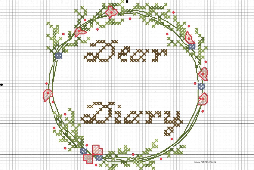 схема вышивки крестом весенний венок/cross-stitching pattern spring wreath