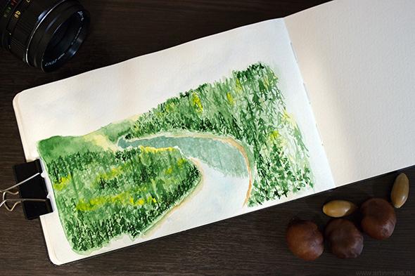 акварель, пейзаж, лес, горы, живопись, watercolor, painting, forest, mountains