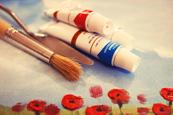 живопись маслом, школа живописи Валенсия, маки, пейзаж, stilllife, oil painting