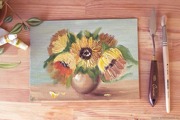 Цветочная композиция / Flower composition, painting/рисование, oil painting/живопись маслом,
