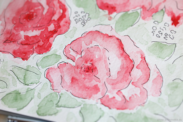 акварель, акварельная живопись, зарисовки, розы, акварель и тушь, watercolor, watercolor painting, roses, watercolor and ink