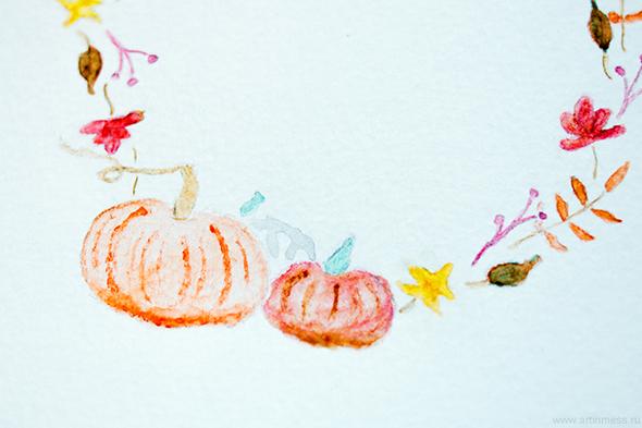 Акварельные венки, Watercolor wreaths, painting, рисование, осенний акварельный венок с тыквами, весенний акварельный венок, spring watercolor wreath, autumn watercolor wreath