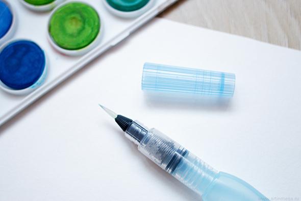 акварель, watercolor, кисть с резервуаром, brush with reservoir