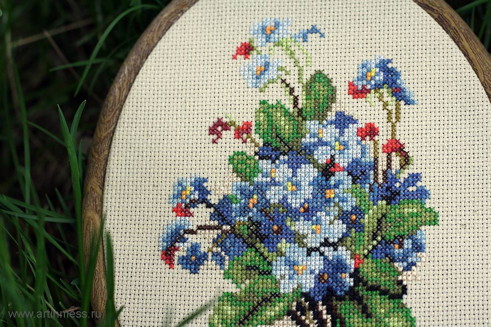 Вышивка Бутоньерка с незабудками / Cross-stitching Buttonhole with forget-me-nots