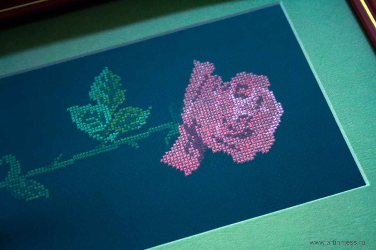Вышивка роза / Cross-stitching rose