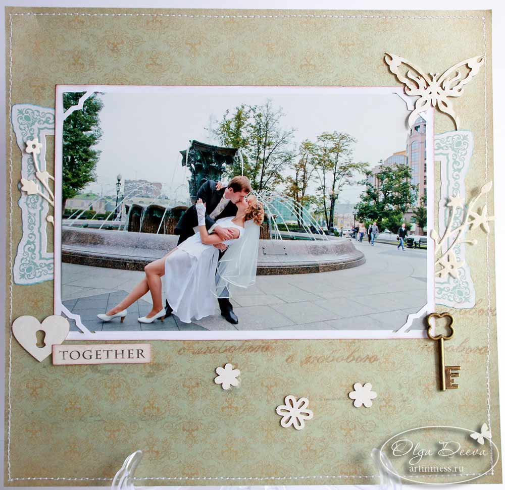 Свадебная скрап страничка / Wedding scrap layout